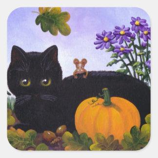 Sticker Carré Cadeau drôle mignon Creationarts d'automne de