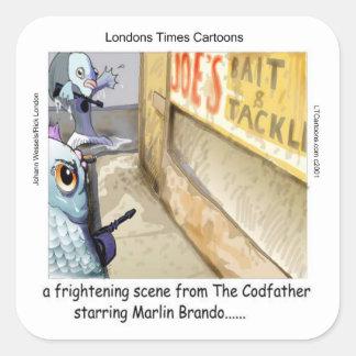 Sticker Carré Cadeaux drôles de Mafia de poissons de Rick