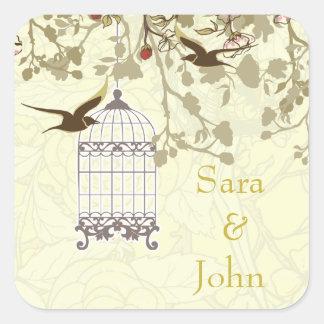 Sticker Carré cage à oiseaux jaune florale, joint d'enveloppe