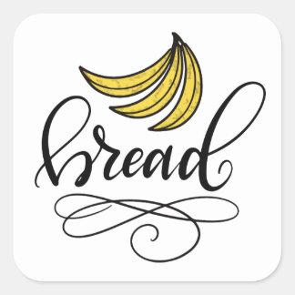 Sticker Carré Cake à la banane, main marquée avec des lettres