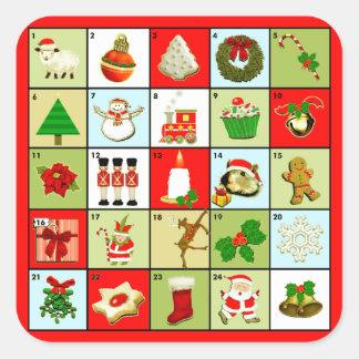 Sticker Carré Calendrier d'avènement de Noël
