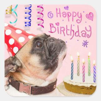 Sticker Carré Carlin de partie et gâteau d'anniversaire