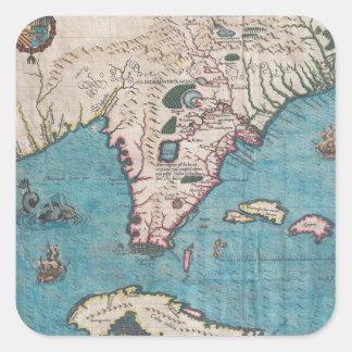 Sticker Carré Carte antique de la Floride et du Cuba