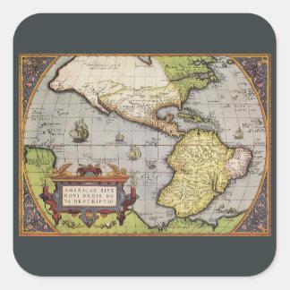 Sticker Carré Carte antique du monde des Amériques, 1570