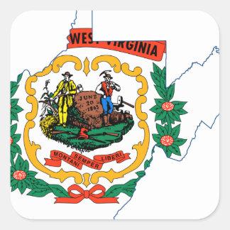 Sticker Carré Carte de drapeau de la Virginie Occidentale