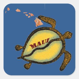 Sticker Carré Carte de Hawaïen de tortue de mer de Maui