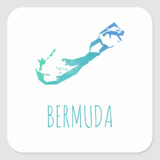 Sticker Carré Carte des Bermudes