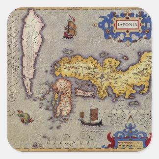 Sticker Carré Carte du Japon par Mercator et Hondius, 1606