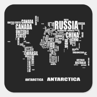 Sticker Carré Carte du monde de typographie
