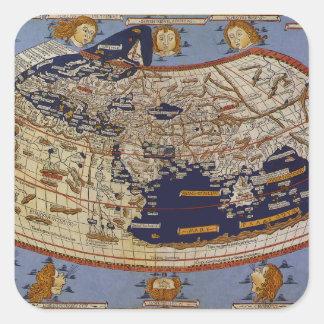 Sticker Carré Carte Ptolemaic antique du monde, Johannes