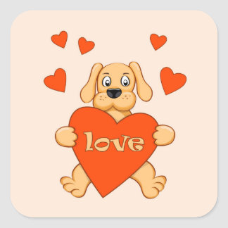 Sticker Carré cartoon dog keeping red heart with love