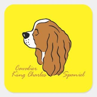 Sticker Carré Cavalier King Charles Spaniel tête silhouette