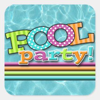Sticker Carré Célébration de réception au bord de la piscine
