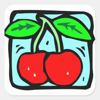 Sticker Carré Cerises rouges