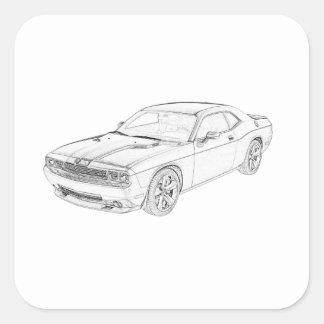 Sticker Carré Challengeur de Dodge