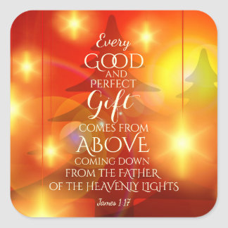 Sticker Carré Chaque cadeau parfait vient d'en haut, Noël