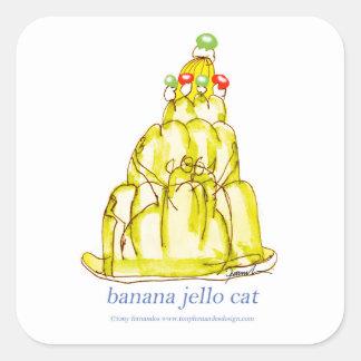 Sticker Carré chat élégant de jello de la banane des fernandes