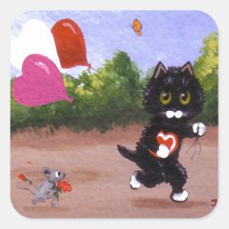 Sticker Carré Chat et souris drôles Creationarts de Valentine