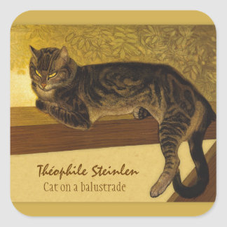 Sticker Carré Chat sur une balustrade CC0234 Théophile Steinlen
