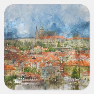 Sticker Carré Château de Prague dans la République Tchèque