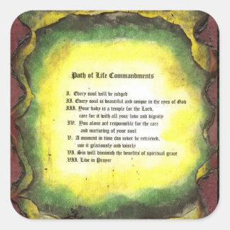 Sticker Carré Chemin des commandements de la vie