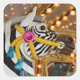 Sticker Carré Cheval de zèbre de tour de carrousel de manège