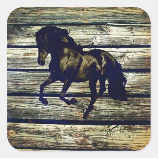 Sticker Carré Cheval noir équestre primitif d'étalon de BarnWood