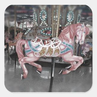 Sticker Carré Cheval rose de carrousel