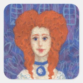 Sticker Carré Cheveux rouges, orange bleue d'art rococo de fibre