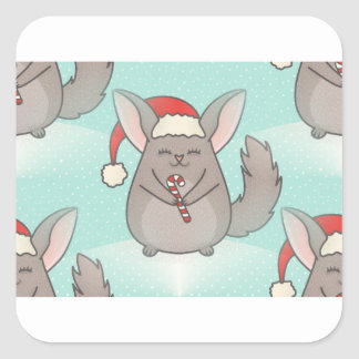 Sticker Carré chinchillas de Noël