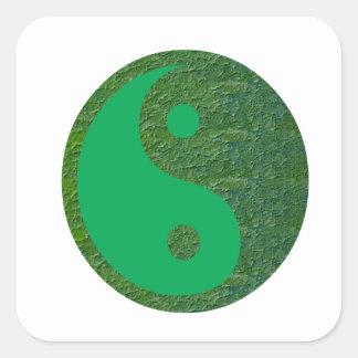 Sticker Carré Chinois de l'équilibre YIN YANG de vert du