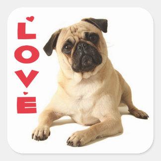 Sticker Carré Chiot de carlin d'amour - pensant à vous