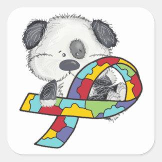 Sticker Carré Chiot de ruban de sensibilisation sur l'autisme