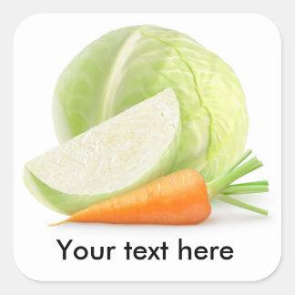 Sticker Carré Chou et carotte