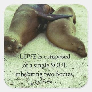 Sticker Carré Citation d'Aristote de soulmates d'amour