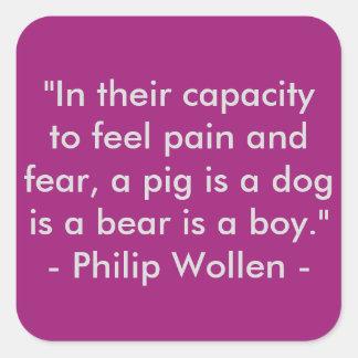 Sticker Carré Citation de Philip Wollen - activiste de droits