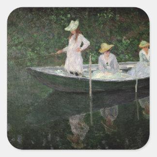 Sticker Carré Claude Monet | le bateau chez Giverny, c.1887