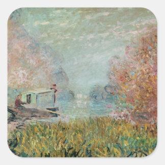 Sticker Carré Claude Monet | le studio de bateau sur la Seine,