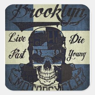 Sticker Carré Club de moto de Brooklyn