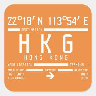 Sticker Carré Code d'aéroport international de Hong Kong