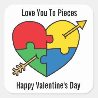 Sticker Carré Coeur de puzzle de Saint-Valentin de