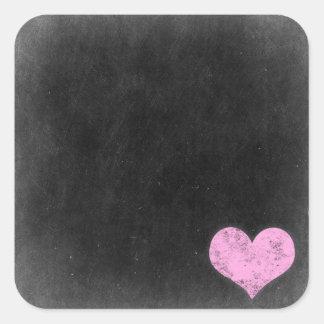 Sticker Carré Coeur rose chic minable rustique de craie de