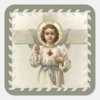 Sticker Carré Coeur sacré d'enfant Jésus avec la croix