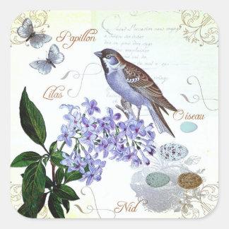 Sticker Carré Collage floral des textes français vintages avec