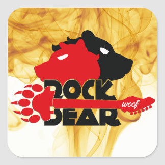 Sticker Carré Colle Rock Bear Woof