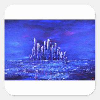 Sticker Carré Conception bleue urbaine de Jane Howarth