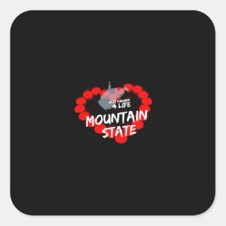 Sticker Carré Conception de coeur de bougie pour l'état de la