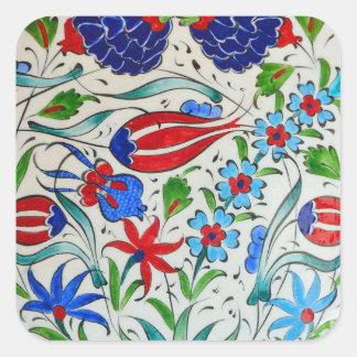 Sticker Carré Conception florale turque