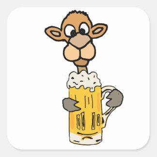 Sticker Carré Conception potable de bière de chameau drôle