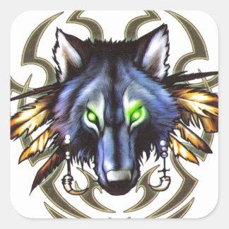 Sticker Carré Conception tribale de tatouage de loup